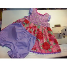 Bloomer Set NEW Boutique Style Summer Roses  Dress  Flower  Pink/Lilac  Baby   Girls  2 pc  Size 12-18mo   Ready to ship
