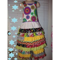 2 pc Patchwork  Capri Set  Back To School Gypsy    Girls Toddler   Size 6/7 Ready to ship