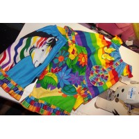 2 pc Patchwork  Capri  Set  Rainbow Zebra Multi Colors Butterfly    Girls Toddler   Size 3t/4t  Ready to ship