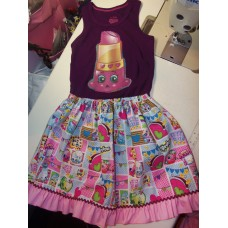 2 pc Patchwork Skirt Set  Shopkins Lippy Lips     Girls Toddler   Size 4t/5t  Ready to ship
