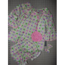 3pc Bloomer Set 3D Frog Buterfly Flowers  Pink Hobbo Girls   Baby Toddler   Girls    Size 3t/4t  Ready to ship