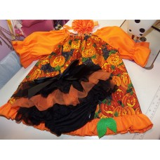 3pc Bloomer Set Baby Pumpkin Halloween costume  diaper cover    cake smash birthday   Size -9mo-2t