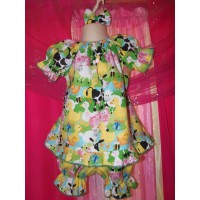 3pc Bloomer Set Farm Animals Pajama Dress up Play Day   diaper cover   cake smash birthday   Size 18-24mo
