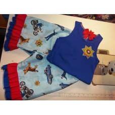 3 pc  Capri Set Back to School   Proud Daughter of Police  Father  Day  Cop Girls Toddler   Size 5t/6x  Ready to ship
