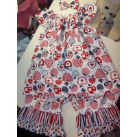3 pc  Capri Set   INDEPENDENCE DAY 4-th  July   Girls Toddler   Size 3t/4t  Ready to ship (custom order any size 12mo-5t)