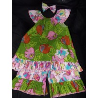 3 pc  Capri Set  Pink Elephant   in Room  4-th  July  Memorial Day Animals Wild  Girls Toddler   Size 3t/4t  Ready to ship
