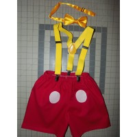 3 pc Mickey Mouse Bow/Shorts/Suspenders    12mo,18mo,24mo  2t 3t 4t   Baby Boy    Ready to ship