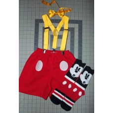 3pc Mickey Mouse Bow/Shorts/Suspenders/socks 2, 3 and 4T Toddler Ready to ship image