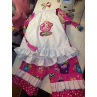 3 pc Patchwork  Capri Set Back to School  Shopkins    Girls Toddler   Size  5t/6  Ready to ship (custom order any size 12mo-6t)