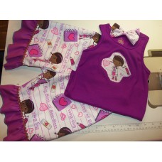 3 pc  Shorts Set Back to School Doc Mcstuffins Outfit, Tank  with Shorts and  Bow  Girls Toddler   Size 4t/5t  Ready to ship