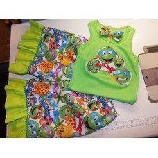 3 pc  Shorts Set Back to School Teenage Mutant Ninja Outfit, Tank  with Shorts and  Bow  Girls Toddler   Size 4t/5t  Ready to ship