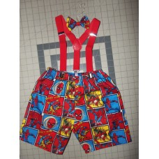3pc Spider Man Bow/Shorts/Suspenders 12mo, 18mo, 2, 3 and 4T Toddler Ready to ship image