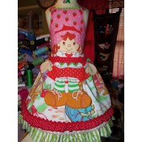 3 pc set VINTAGE  Fabric Easter Strawberry Shortcake  Ruffle   Dress with Apron  and Bow Size 5t  Ready to ship(see measurements)