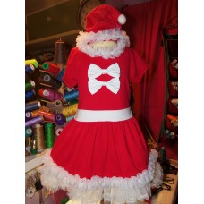 3 pc set  Vintage Fabric Christmas New Year  Santa Clause   Dress Tutu Skirt Hat   Size 4t Knit Fabric