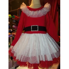 3 pc set  Vintage Fabric Christmas New Year  Santa Clause   Dress Tutu Skirt Leggings  Size 3t/4t Knit Fabric
