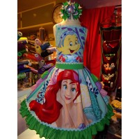Ariel  Flounder Fish Mermaid  Princess  Ruffles Dress  Bow Size 6  26in length Ready to Ship