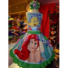 Ariel Flounder Fish Mermaid Princess Ruffles Dress Bow Size 6 26in length Ready to Ship image