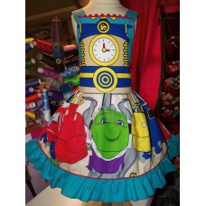 Back to School NEW Handmade Chuggington Trains Cute Girl Dress Custom Size Patchwork  Fun  Dress  Size 4t  24in length Ready to Ship