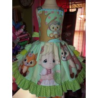 Back to School Rag Doll and Friends  Baby Girl and Animals  Dress  Size 5t