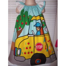 Back to School School Bus Kids Play  Summer  Dress Size 2t,3t or 4t and 5t  Ready to ship