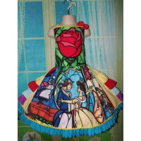 Beauty and The Beast  Stained Glass,  peasant twirl dress ruffle  Girls - Pageant Dress - Birthday Party Dress  Size 6  Ready to Ship