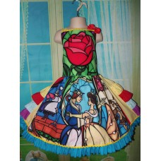 Beauty and The Beast Stained Glass, peasant twirl dress ruffle Girls - Pageant Dress - Birthday Party Dress Size 6 Ready to Ship image