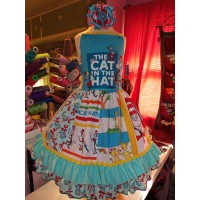 Cat in the Hat - Dr Seuss Dress - Girls  Clothing - Pageant Dress - Birthday Party Dress  Size 5t  25in length Ready to Ship
