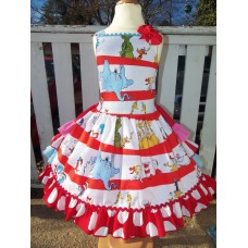 Cat in the Hat - Dr Seuss Dress - Girls  Clothing - Pageant Dress - Birthday Party Dress  Size 6  26in length Ready to Ship