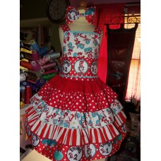 Cat in the Hat - Dr Seuss Dress -Thing 1 and Thing 2 - Birthday Party Dress and headband Only in  Size 4t  Ready to Ship LAST ONE