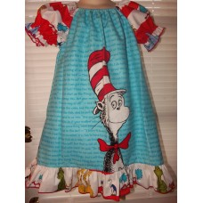Cat in the Hat Dr Seuss Girl  100% cotton Flannel sleeping nightgown Dress  Grinch   Size 4t  ready to ship. LAST ONE