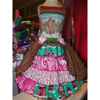 Christmas Gingerbread Village   Ginger cookies Vintage Fabric   Gingerbread Girl Costume Dress  Size 6
