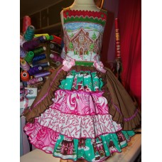 Christmas Gingerbread Village Ginger cookies Vintage Fabric Gingerbread Girl Costume Dress Size 6 image