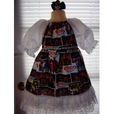 Coco  Dress and Bow Size 4t/5  Ready to ship(see measurements)