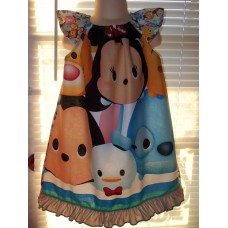 Disney  Emoji  Patchwork Back to School   Dress Size 4t/5t  23in length