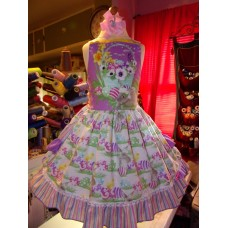 Easter Eggs  Bunny Rabbit  Ruffle   Dress and Bow  Size 3t  Ready to ship(see measurements)