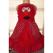 Elmo Vintage Patchwork fabric  Ruffles  Dress Size 3t/4t  23in length Ready to Ship
