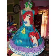 Gold Glitter Fabric Vintage fabric Ariel Sebastian Flounder Mermaid  Princess  Ruffles Dress  Size 5/6 Ready to Ship