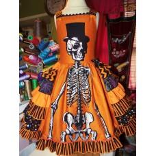 Halloween scary skeleton girl dress size 5t 26in length