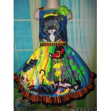 Halloween Witch  and Cat Halloween face Scary   Girl   Dress Size 5t 25in length