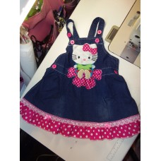 Handmade embroidery Hello Kitty Back to School Jumper Baby Kittens  Cat's  Girls    Size 3t/4t  Ready to ship