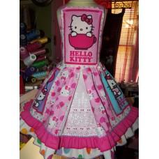Hi Kitty Kittens polka dot VINTAGE  Fabric   Ruffle   Dress Size 5t Ready to Ship