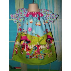 Home Sweet Home Gnome  fabric Happy Easter Bunny   Dress Size 2t,3t or 4t Ready to ship
