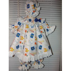 Hospital Gown Doctors Norse  Dress up  3pc Bloomer/Pajama  Set Bonnet   little girl outfits  Size 18mo-2t
