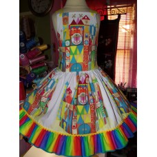 It's a Small World  Birthday, Rainbow,Tea Party Fairy tale Dress  Size 3t  Cotton fabric   Ready to ship