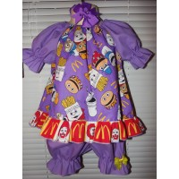 McDonalds Hamburglar Vintage 3pc Bloomer Set  diaper cover   Set   Babydoll  Fun cake smash birthday   Size 2t