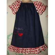 Mom @ Dads Little Sweet  Heart  Embroidery Jeans Valentine Girl   Dress Size 3t  21in length