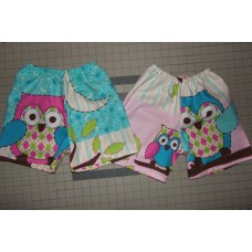 Owl on Branches Girl Shorts Pajama sleeping shorts   Size 4t  ready to ship. LAST ONE