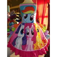 Patchwork My Little Pony  Valentine Day Easter Summer Party  Pink Ruffle  Dress Size 5t/6  Ready to ship