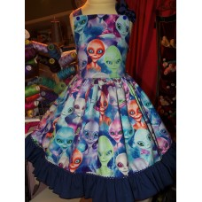 Patchwork Aliens! Little green and blue and orange Alien    Dress Size  4t Ready to ship