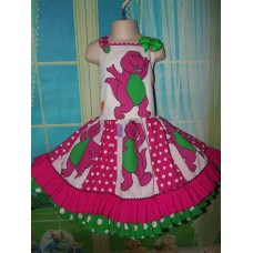 Patchwork Back to School Barney Doll    Polka Dots  Ruffle  Dress Size 5t Ready to ship(see measurements  )